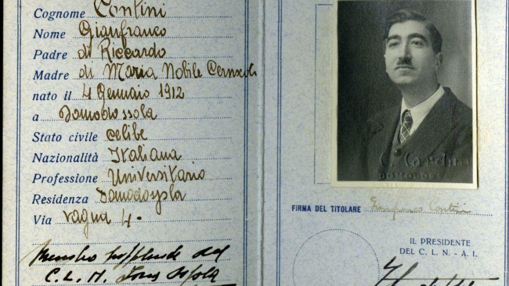 carta d'identità di gianfranco contini