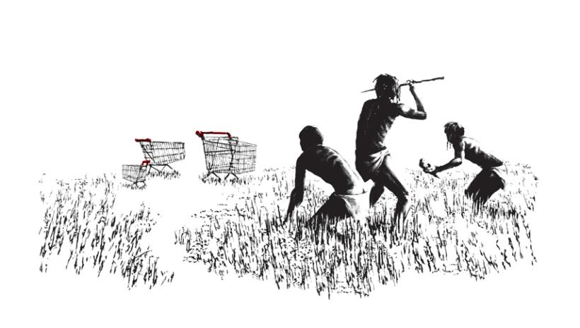 Banksy banner nonleggerlo preistoria - Nonleggerlo